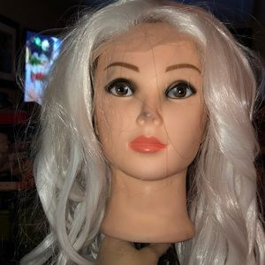 New Front Lace Long Curly White wig